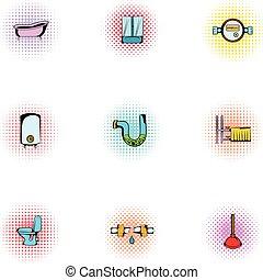 Equipment for bathroom icons set, pop-art style