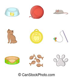 Equipment for care of pets icons set cartoon style