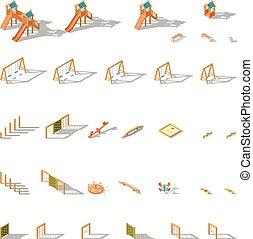 Equipment for children playground isometric icon set
