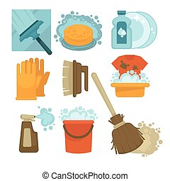 Equipment for cleaning service workers isolated illustrations set