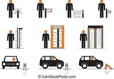 Equipment for entrance control such as turnstiles, revolving...