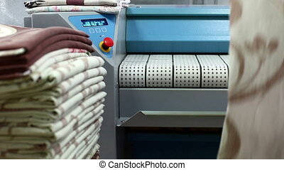 Equipment for ironing linen in laundry room - View of...