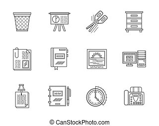 Equipment for office flat line vector icons set
