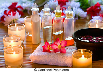 Back to the spa area again, and they give me permission to remove the entire label in essence oil bottles. Focus mainly on the red flowers above the towel.