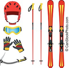 Equipment for skiing, snowboarding, mountain hiking in flat vect