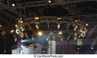 Equipment for stage lighting. Stage lighting effect in the...
