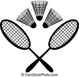 Set objects of sporting equipment for badminton game: rackets and shuttlecocks, black silhouette on white background. Vector