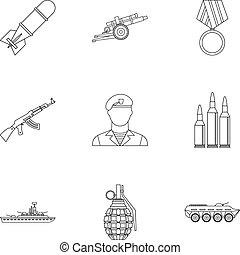 Equipment for war icons set, outline style