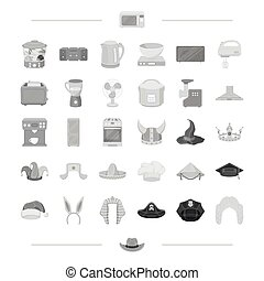 equipment, home, electro and other web icon in black style., head, clothing, technique icons in set collection.