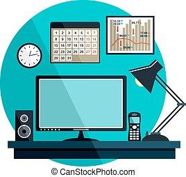 equipment., illustration, bureau, choses, vecteur, plat
