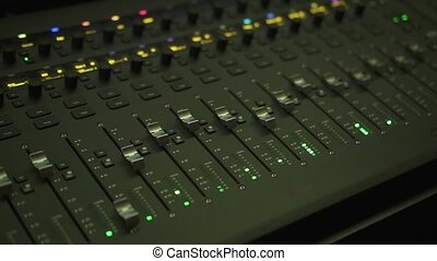 Technological equipment turned on in the audio recording studio