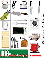 equipment., jogo, cozinha, grande, vect