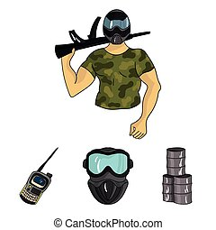 Equipment, mask, barrel, barricade .Paintball set collection icons in cartoon style vector symbol stock illustration web.