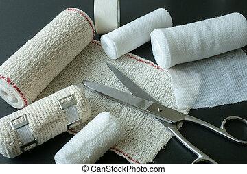 equipment., medico, scissors., fasciature
