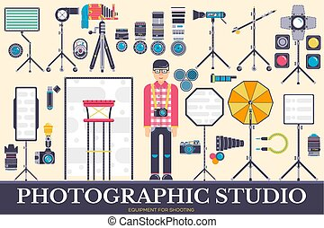 Equipment of the photographer icons design illustration set. Flat Photo studio items concept. Vector camera, lenses and other staff background