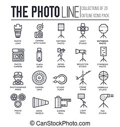 Equipment of the photographer thin line icons design illustration set. Flat outline Photo studio items concept. Vector camera, lenses and other staff linear background