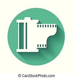 equipment., pellicule, vendange, isolé, long, filmstrip, appareil photo, blanc, rouleau, cartouche, illustration, 35mm, bobine, cercle, icône, button., shadow., vecteur, vert, canister., photographe, icon.