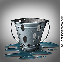 Equipment problems and design flaw failure concept as an empty inefficient, metal pale with holes and water spilled on the floor as a metaphor for product defects and failed strategy.