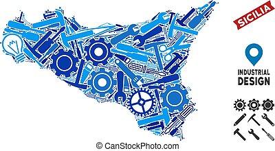 Equipment Sicilia Map Collage - Equipment Sicilia map mosaic...