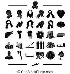 equipment, textiles, clothing and other web icon in black style.Tool, building, material, icons in set collection.
