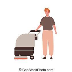 equipment., vetorial, trabalhador, serviço, homem, apartamento, ficar, chão, sweeper., adulto, lavando, fundo branco, caricatura, profissional, ilustração, zelador, limpeza, isolado