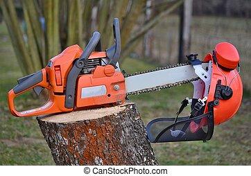 equipment woodcutter, South Bohemia, Czech Republic