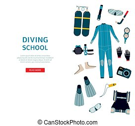 equipment., zambullidor de la escafandra autónoma, bandera, buceo, plantilla, escuela