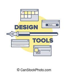 equipments, concept, conception, outils, illustration