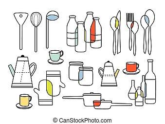 equipments, cuisine, manger, homeware