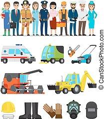 equipments, ensemble, profession, représentants