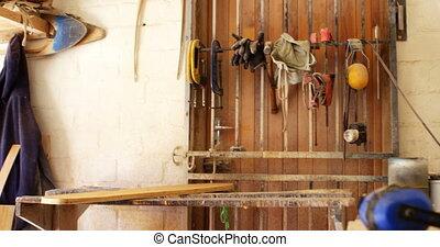 """""""equipments, eszközök, és, gördeszka, alatt, műhely, 4k"""""""