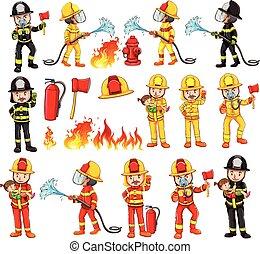 equipments, pompiers, ensemble
