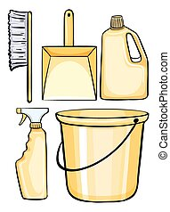 equipments, pulizia, giallo