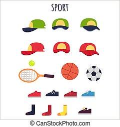 equipments, vetorial, desporto, cobrança, roupas