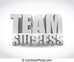 equipo, éxito, 3d, texto, señal, ilustración, diseño