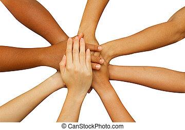 equipo, actuación, unidad, gente, poniendo, su, manos juntos