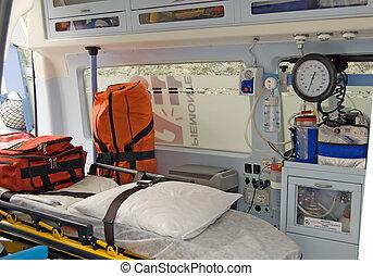 equipo, ambulancia