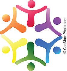 equipo, apoyo, logotipo