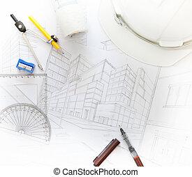 equipo, arquitecto, relacionado, trabajando, tabla