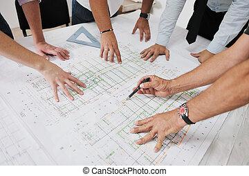 equipo, arquitectos, sitio, construcción
