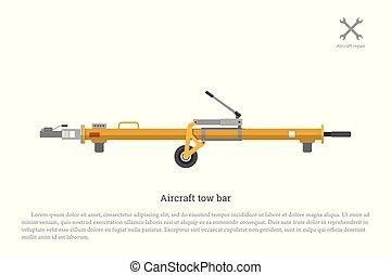 equipo, aviación, mantenimiento, bar., avión, remolque, reparación