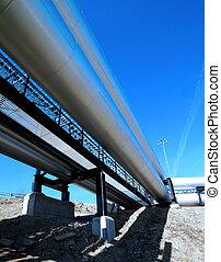 equipo, cables, y, tubería, como, fundar, dentro, industrial, central eléctrica