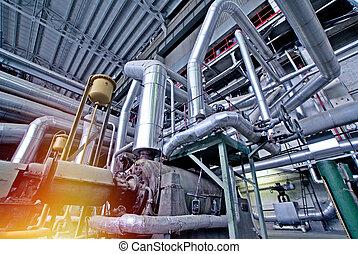 equipo, cables, y, tubería, como, fundar, dentro, un, moderno, industrial, central eléctrica
