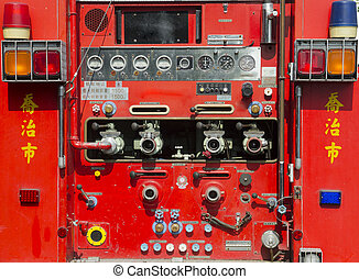 equipo, camión, rescate, firefighting, detalles