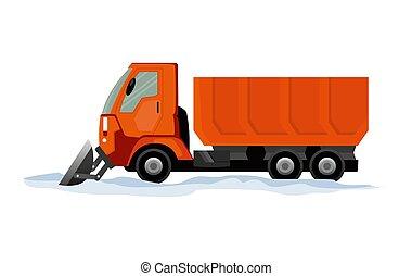 equipo, camino, snow., arado, aislado, snowblower, pesado, limpia, nieve, transporte, camión, quitanieves, blanco, fondo., works.