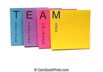 equipo, concepto, notas pegajosas