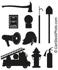 equipo, conjunto, firefighting, iconos
