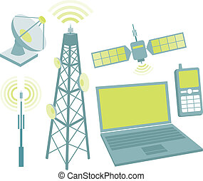 equipo, conjunto, telecomunicación, icono