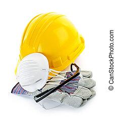 equipo, construcción, seguridad
