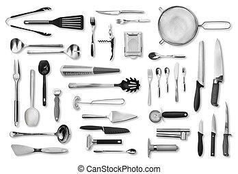 equipo de cocina, y, cubiertos, conjunto